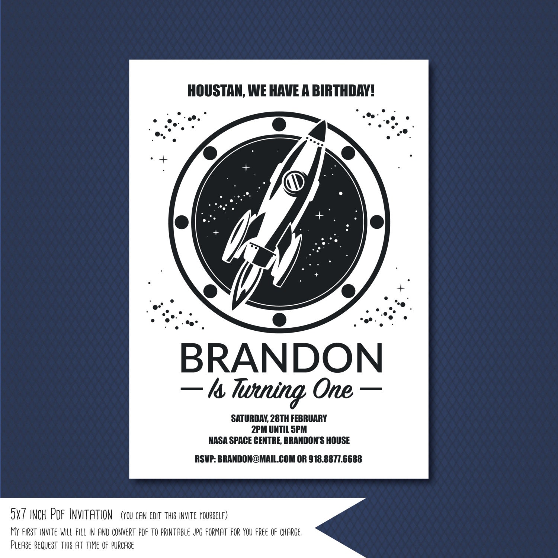 Space invitation Rocket ship invitation Space Rocket BirthdaySELF