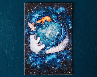 Memory of The Stars; Polar Bear, Whale, Fox, and Owl Constellation Watercolor Postcard