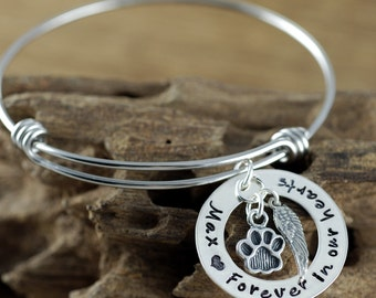 Forever in our Hearts, Personalized Pet Memorial Bracelet, Loss of Pet Jewelry, Dog Mom Gift, Hand Stamped Memorial, Pet Remembrance Jewelry