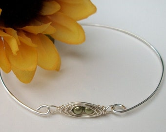 Tiny Peapod Sterling Silver Bangle Bracelet