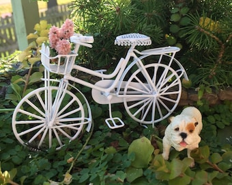 Bicycle, Miniature Dollhouse Bike, White Metal With Basket and Book Rack, Dollhouse Miniatures, 1:12 Scale, Miniature Garden Outdoor Decor