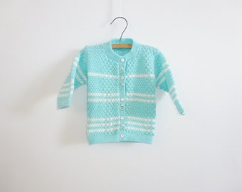 Vintage Blue and White Baby Cardigan