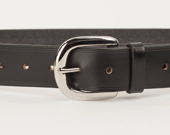 Black Bridle Leather Belt with 1.5 inch Horseshoe Buckle