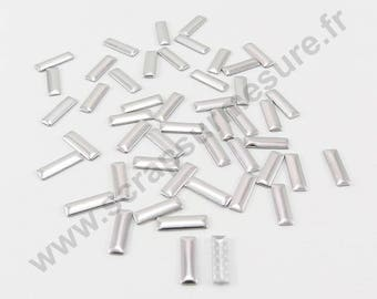 Fusible rectangle - silver - 4x2mm - x 100pcs