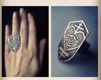 Shield Heart Ring - Illuminated Heart - Etched Copper - Crest Ring - handmade from copper in my studio -  Jamie Spinello
