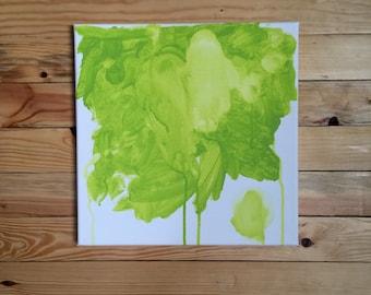 Abstract Bright Green Watercolor/ Mixed Media Painting