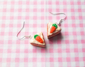 Carrot Cake Earrings, Cake Earrings, Cake Slice Earrings, Miniature Food Earrings, Food Earrings, Dessert Earrings, Carrot Cake