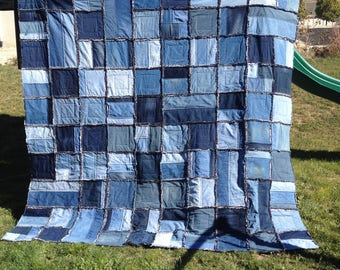quilt from jeans denim made by skirt old fixation