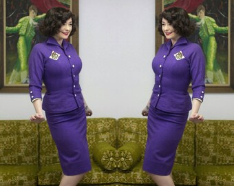 """1950s Purple Suit   Purple Suit   Wool Suit   50s Suit   1950s Suit   Mrs Maisel   Fitted Suit   Purple Wool   Leather Suit   New Look   23"""""""