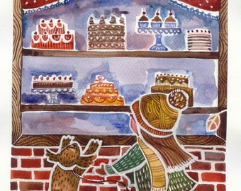 Girl in the cake shop digital art hand painted water color