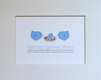Custom New Baby Bird Wall Art Print / Nursery Art / Birth Announcement / Birds / Nest