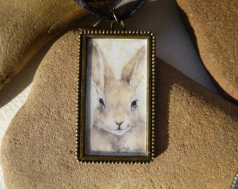 Bunny Rabbit necklace handmade with watercolor rabbit art print in a bronze finish pendant