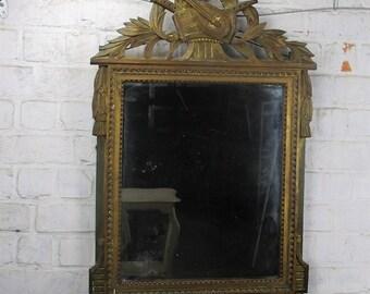 Antique Vintage Mirror Carved Wooden Frame Hobnails Musical Instruments Mandolin
