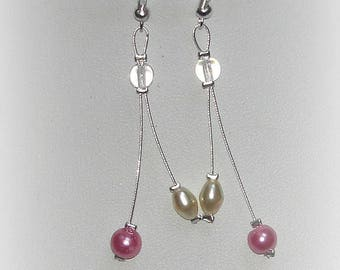 CLARISSE - Pink ivory wedding earrings
