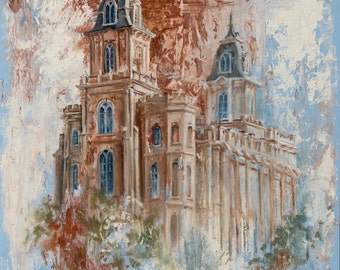 ON SALE! Manti LDS Mormon Temple Art.  Beautiful and Unique Canvas Print for your Home or as a Gift!