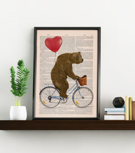 Grizzly Bear riding a bike - Wall decor giclee print- wall art,home decor red hart shaped balloon ANI222b