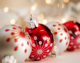 40% OFF- Christmas Decor Christmas Ornaments Photo- Red Silver Christmas Celebration Holiday Art 5x7 Photography