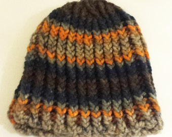Knit Chunky Striped Hat - Brown, Navy Blue, Grey and Orange