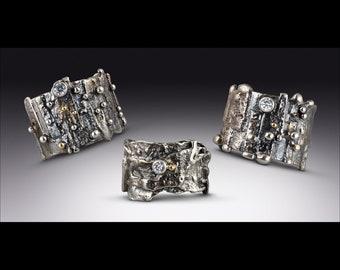 Organic Artisan Sterling and Gold,  Wedding Ring, Statment Ring OOAK Rustic Artisan Ring