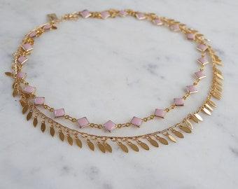 Pink Dreams Double Layer Choker Set, Dangle choker, dangle necklace, gypset, boho necklace, double layer necklace, double choker,