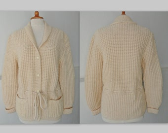 Off-White Handknitted Vintage Wool Mix Cardigan // Size M