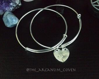 Best Witches bangle bracelet set / best friends bracelets / silver charm bracelet set