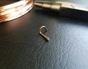Rose Gold Nose Stud 1.5MM CZ Nose Screw 18g (1mm) Nose Ring 316lvm Steel Small Nose Stud