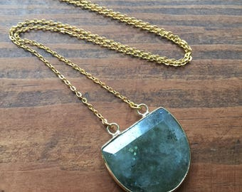 Simple Labradorite 14kt Gold Electroplated Shield Layering Necklace