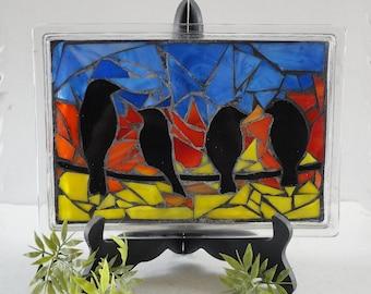 Stained Glass Mosaic, Glass Vanity Tray, Home Decor, Sculpture, Birds, Spring, Sunrise, Sunset, Original Art, Nature, OOAK,Morning Bird Song