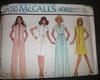 1970s McCalls Summer Casual Pattern 4992, size 12