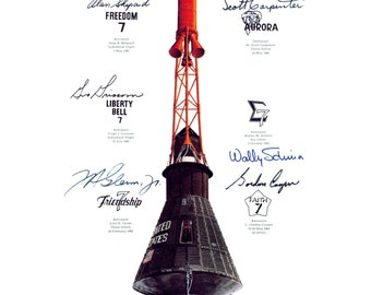 NASA Image Featuring Insignia From Each Manned Mercury Mission and Simulated Autographs - 5X7, 8X10 or 11X14 Photo (AA-168)