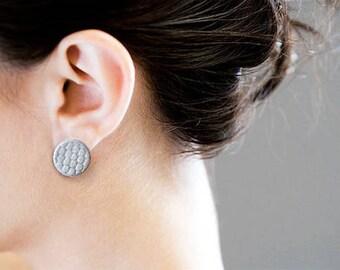 Art Deco porcelain enamel Stud Earrings with sterling silver clasp to lobo.