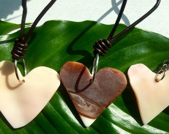 Pink Conch Shell Heart Pendant