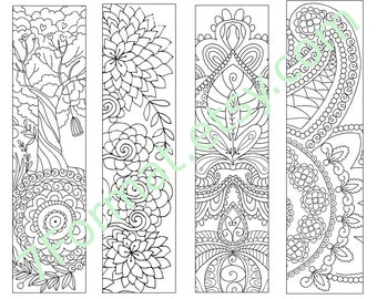 Bookmarks Coloring Printable, Instant Download. 2.