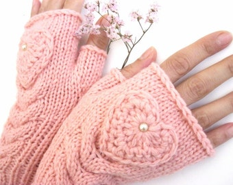 Beauty Pink Fingerless Wool Gloves   Mittens - Arm Warmers - Hand Knitted -  Gift for her - Christmas gift - Winter gloves - Womens  mittens