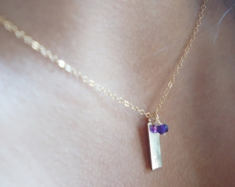 Dainty Custom Bar Necklace Birthstone Jewelry Bridesmaid Gift Name Necklace Small Vertical Bar Sterling Silver Necklace Gift for Her