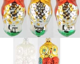 LATE 80s Early 90s Glass Ornaments OWLS  set of 5