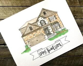 Watercolor Custom Home Sketch