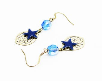Earrings blue stars and drops prints carved stainless steel, single women gift