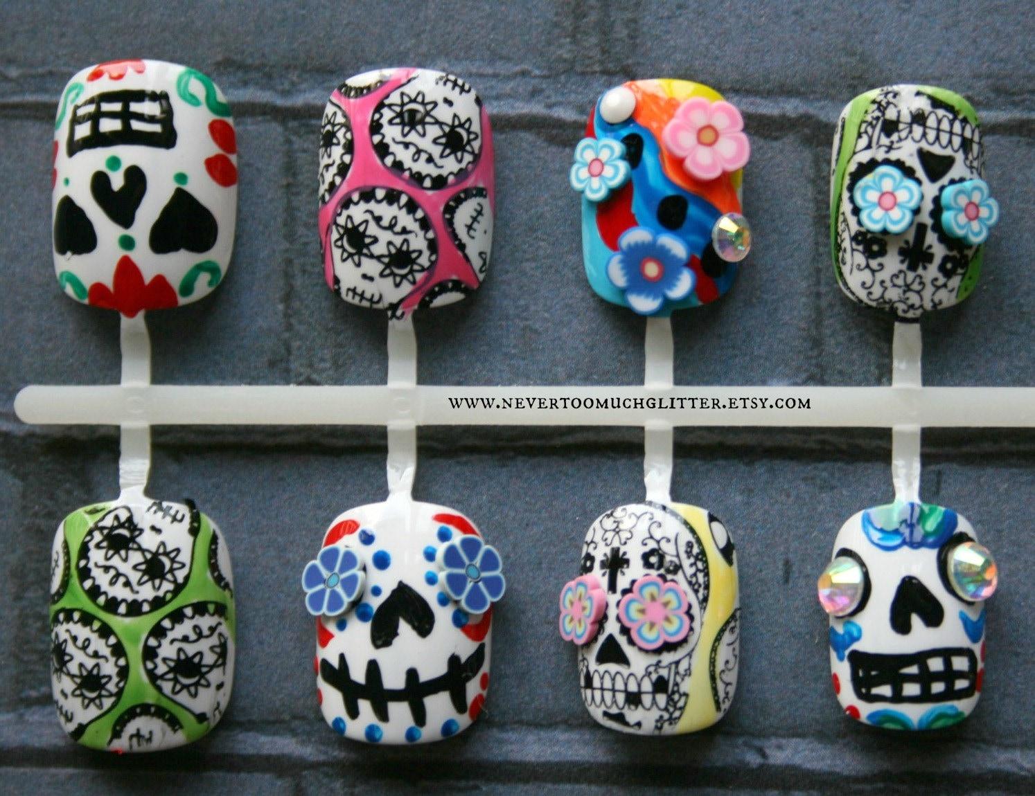 Sugar Skulls Fake Nails | Dia De Los Muertos Press On Nails | Day Of ...