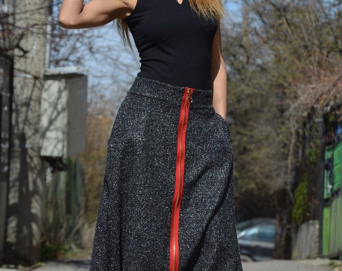 Plus Size Trousers, Dark Grey Wool Pants, Extravagant High Waist Pants, Casual Drop Crotch Pants, Long Zipper Pants by SSDfashion