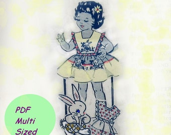 Vintage Girls Dress Pattern Pinafore With Bunny Embroidery Applique circa 1940s  PDF Toddlers Multi Sized 2, 4 or 6