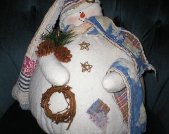 Sewing E-Pattern Instant Download for Percy Fatty Snowman with Quilted hat, scarf and blanketWinter Snow Doll Handmade Fleece Rustic Country