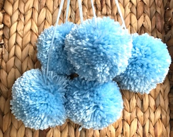 Light Blue Yarn Pom Poms Extra Large, Set of 5