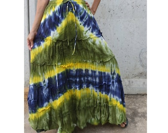 Green Blue Yellow Tie Dye Cotton  Boho Hippie Gypsy Comfy Summer Casual Long Elastic Waist Skirt  Short dress S-L (TD 156)