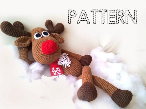 SALE Crochet Christmas Deer PATTERNS Rudolph Toy Reindeer