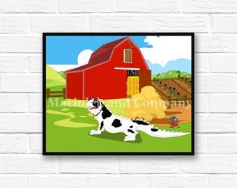 Iguana, Cow, Farm, Barn, Children's Book Art, Wall Art, Nursery Room Art, instant download, digital print, digital art, 8x10