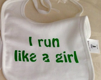 Makeforgood- I run like a girl - Organic cotton baby bib