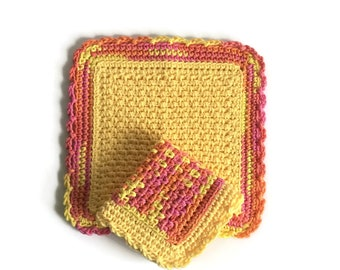 Crochet Dishcloth Set, Two Yellow and Pink Dish Cloths, Cotton Washcloth, Handmade Wash Cloth