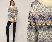 Turtleneck Sweater 80s Sweater Funnel Neck Knit Grey Floral Sweater Jumper WOOL BLEND Pullover Turtle Neck Vintage Retro Small Medium